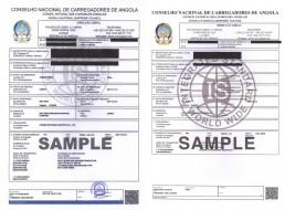 安哥拉CNCA船运 证书样本